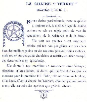 Cat. 1901, description de la chaîne TERROT